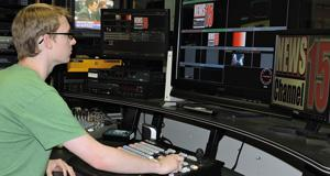 Man working in television studio